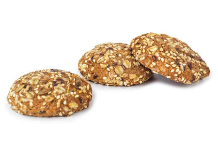 Oat cookies isolated on white background Stock Photo