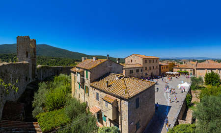 Monteriggioni medieval town in Tuscany Italy - architecture background Editorial