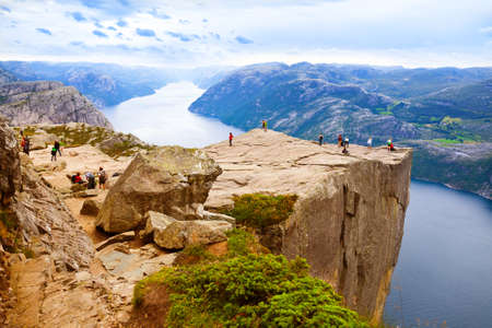 Preachers Pulpit Rock in fjord Lysefjord - Norway - nature and travel background