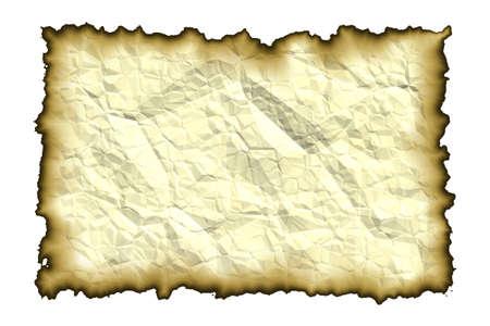 Oud papier met verbrande randen geïsoleerd op een witte achtergrond Stockfoto