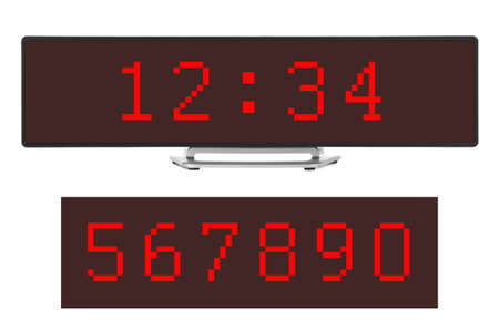 Digital clock isolated on white background 版權商用圖片