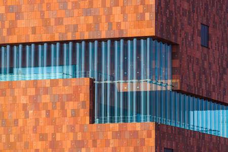 Gebouw van het MAS museum in Antwerpen België - architectuurachtergrond Stockfoto
