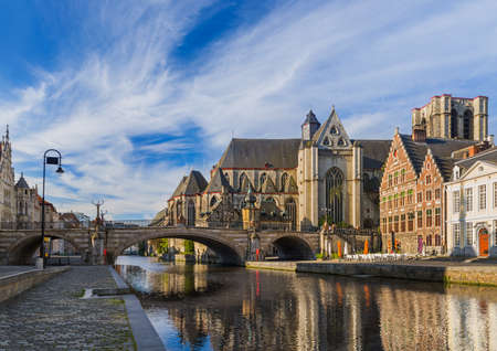 Gent cityscape - Belgium - architecture background 스톡 콘텐츠