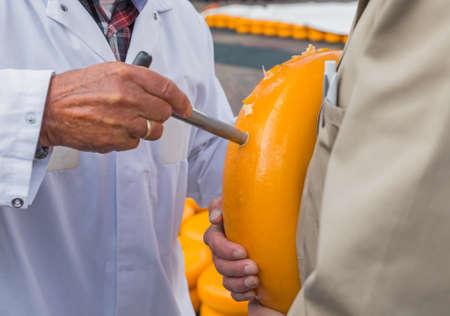 Kaasdegustatie op de traditionele kaasmarkt in Alkmaar Nederland