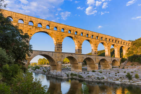Aqueduct Pont du Gard - Provence France - travel and architecture background Stock Photo - 86104811