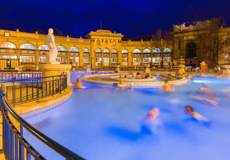 Szechnyi thermal bath spa in Budapest Hungary - travel background