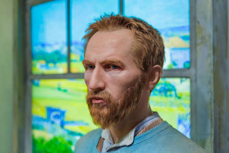 AMSTERDAM, NETHERLANDS - APRIL 25, 2017: Vincent van Gogh wax statue in Madame Tussauds museum on April 25, 2017 in Amsterdam Netherlands.