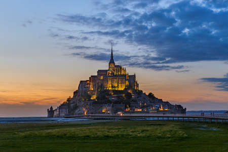 Mont Saint Michel Abbey - Normandy France - travel and architecture background Editorial