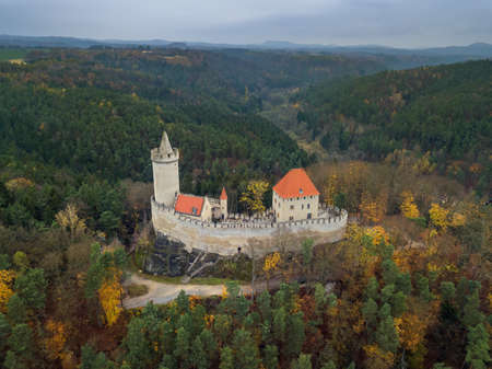Castle Kokorin in Czech Republic - aerial view - travel and architecture background