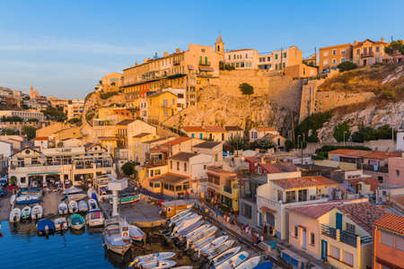 Marseille, France - August 03, 2017: Fishing boats in harbor Vallon des Auffes.