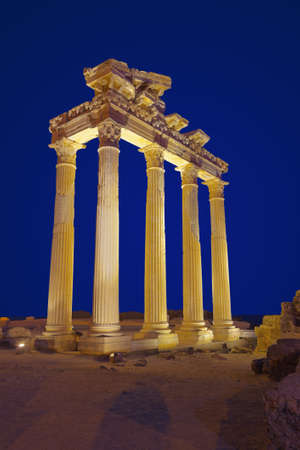 Old ruins in Side, Turkey at sunset - archeology background Foto de archivo