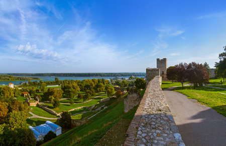 Kalemegdan and Belgrade panorama - Serbia - architecture travel background