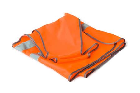 Orange construction jacket isolated on white background 스톡 콘텐츠