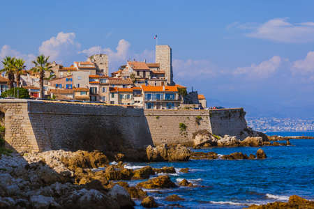 Seascape of Antibes in Provence France - travel and architecture background 写真素材