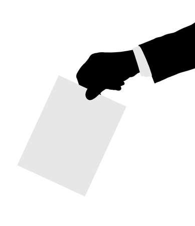Hand with paper ballot isolated on white background Stock Photo