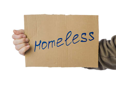 Hand with cardboard Homeless isolated on white background