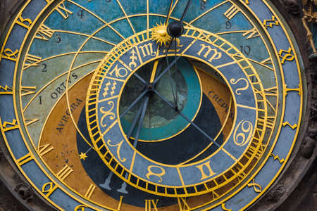 Old Astronomical clock in Prague - Czech Republic - travel and architecture background