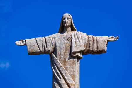 The Christ the King statue on Madeira island - Portugal - travel background Editorial