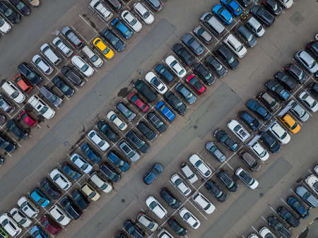 Car parking - aerial view - transportation background 스톡 콘텐츠