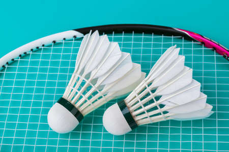Badminton shuttlecocks and racket on green - sport background Stock Photo