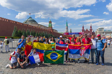 Moscow, Russia - June 26, 2018: soccer fans on Red Square during the 2018 Football World Cup in Russia.