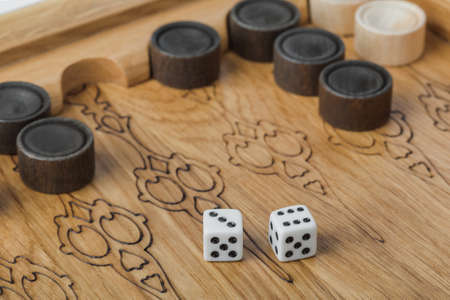 Backgammon playing field and dices - games background