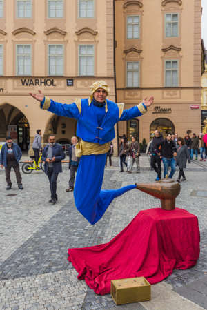 Prague Czech Republic - 19 October 2017: Street performer dressing as Genie and the Magic Lamp. Editorial