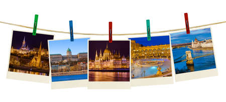 Budapest Hungary travel images (my photos) on clothespins isolated on white background