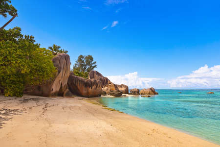 Beach Source d'Argent at Seychelles - nature background Imagens