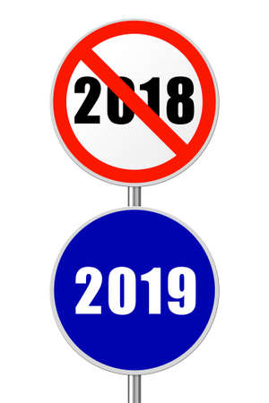Round sign 2019 - New Year concept isolated on white background Imagens