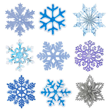Set of snowflakes isolated on white background