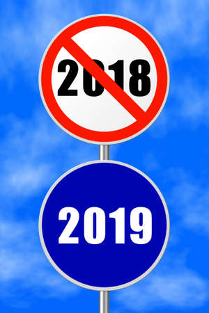 Round sign 2019 - New Year concept - sky on background