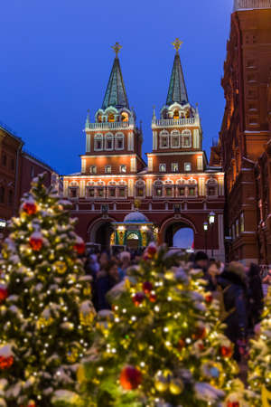 Christmas tree on Red square in Moscow Russia - holiday background 免版税图像