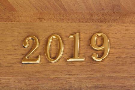 Numbers 2019 on door - new year concept background Stock Photo