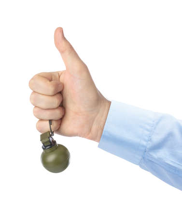 Thumb up hand with grenade isolated on white background Stok Fotoğraf