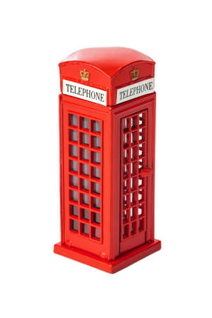 Toy red phone booth of London isolated on white background