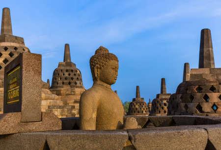 Borobudur Buddist Temple in island Java Indonesia - travel and architecture background