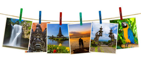 Bali Indonesia travel images (my photos) on clothespins isolated on white background Archivio Fotografico - 115253727