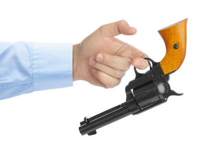 Hand with revolver isolated on white background