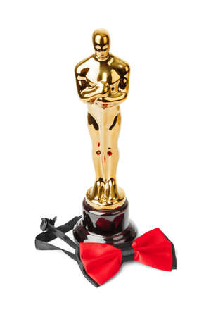 Award of Oscar ceremony and bow tie isolated on white background