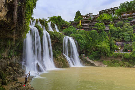 Furong ancient village and waterfall - Hunan China - travel background Archivio Fotografico