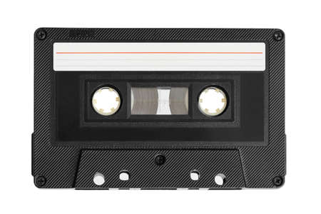 Audio cassette with blank label isolated on white background