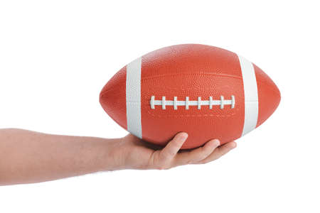 Hand and rugby ball isolated on white background Archivio Fotografico