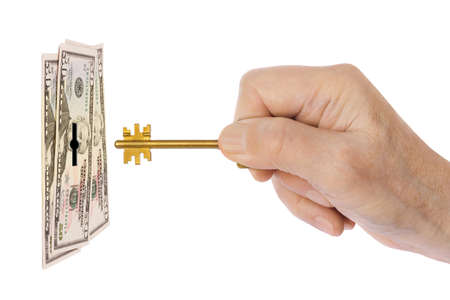 Hand with key and money isolated on white background