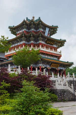 Buddhist temple at Tianmenshan nature park - Zhangjiajie China - travel background