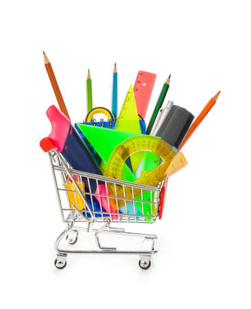 Stationery in shopping cart isolated on white background Stock Photo