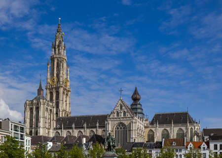 Cathedral on Grote Markt in Antwerp Belgium - architecture background
