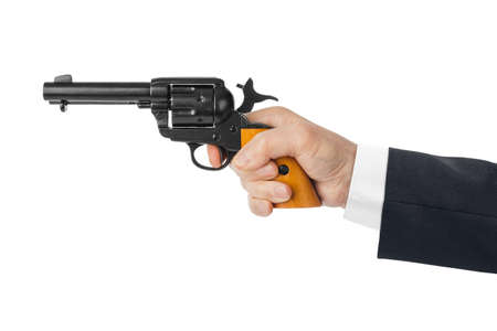 Hand with revolver gun isolated on white background