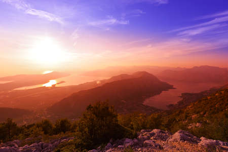 Kotor Bay on sunset - Montenegro - nature and architecture background Banque d'images