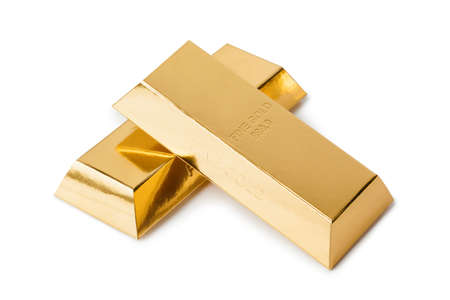 Gold bars isolated on white background Stock fotó